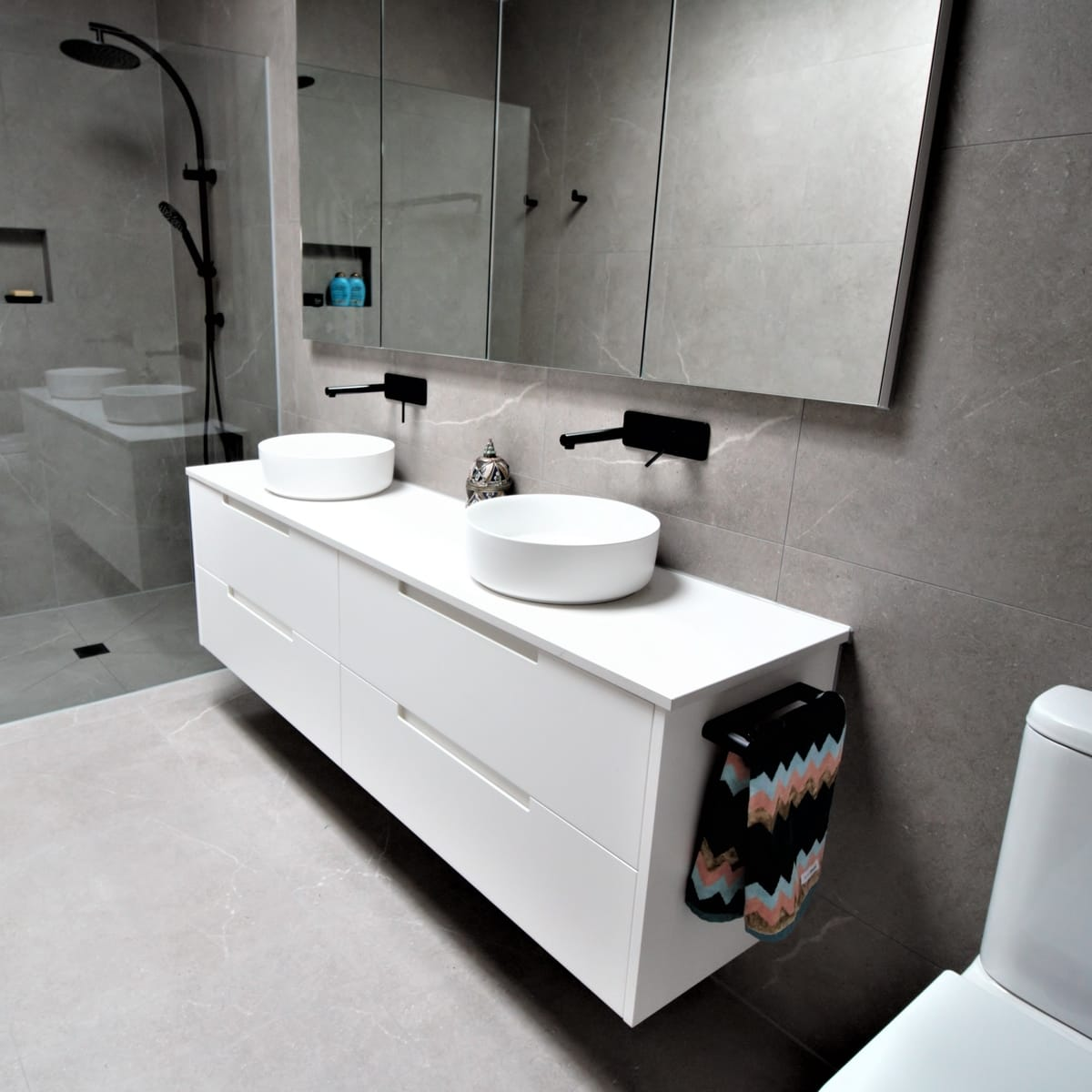 wall mounted vanity matte white double drawer