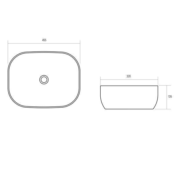 white ceramic rectangular above counter basin with round corners product specification