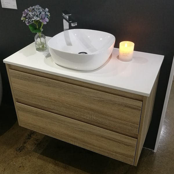 Marley white ceramic bench mount basin square with rounded corners on wall hung vanity