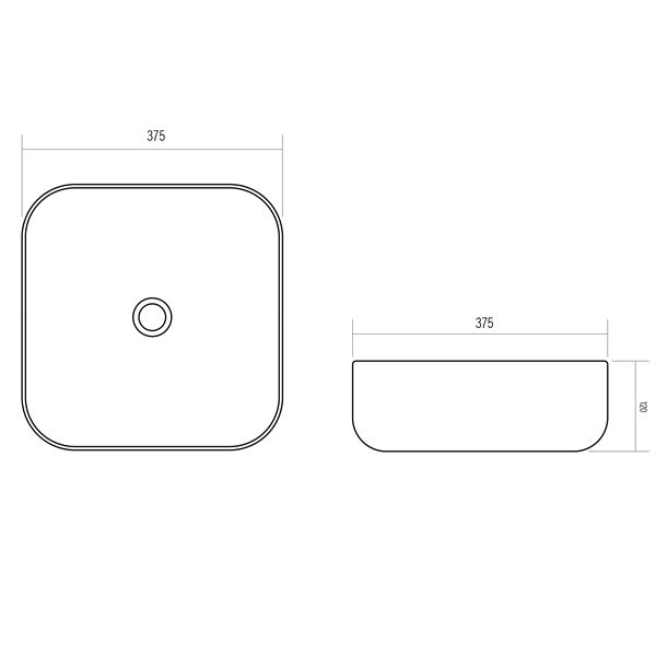 white ceramic square bench mount basin with round corners product specification