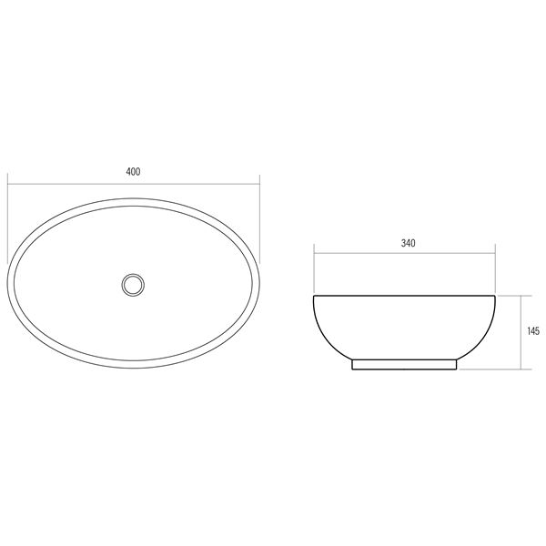 Arial white ceramic oval shaped bench mount basin product specification