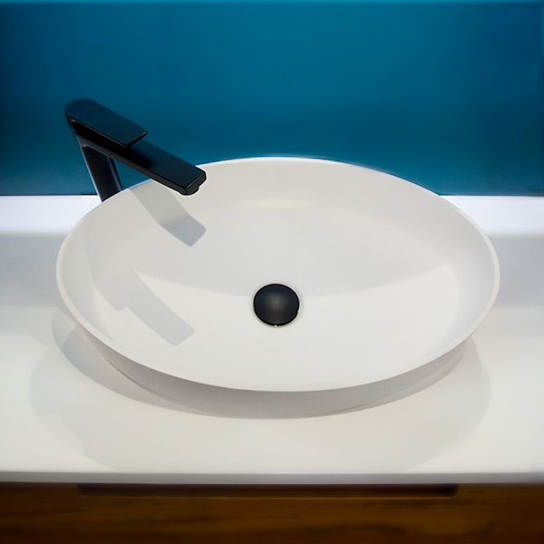 Solid Surface Basin Matte White Crown Top View