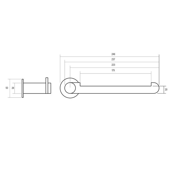 Epoch polished chrome plated brass hand towel rail product specification