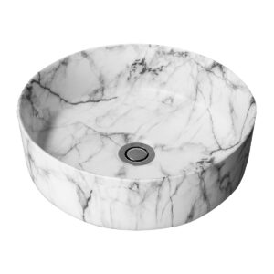 Eris Chich bench mount ceramic basin with marble veins