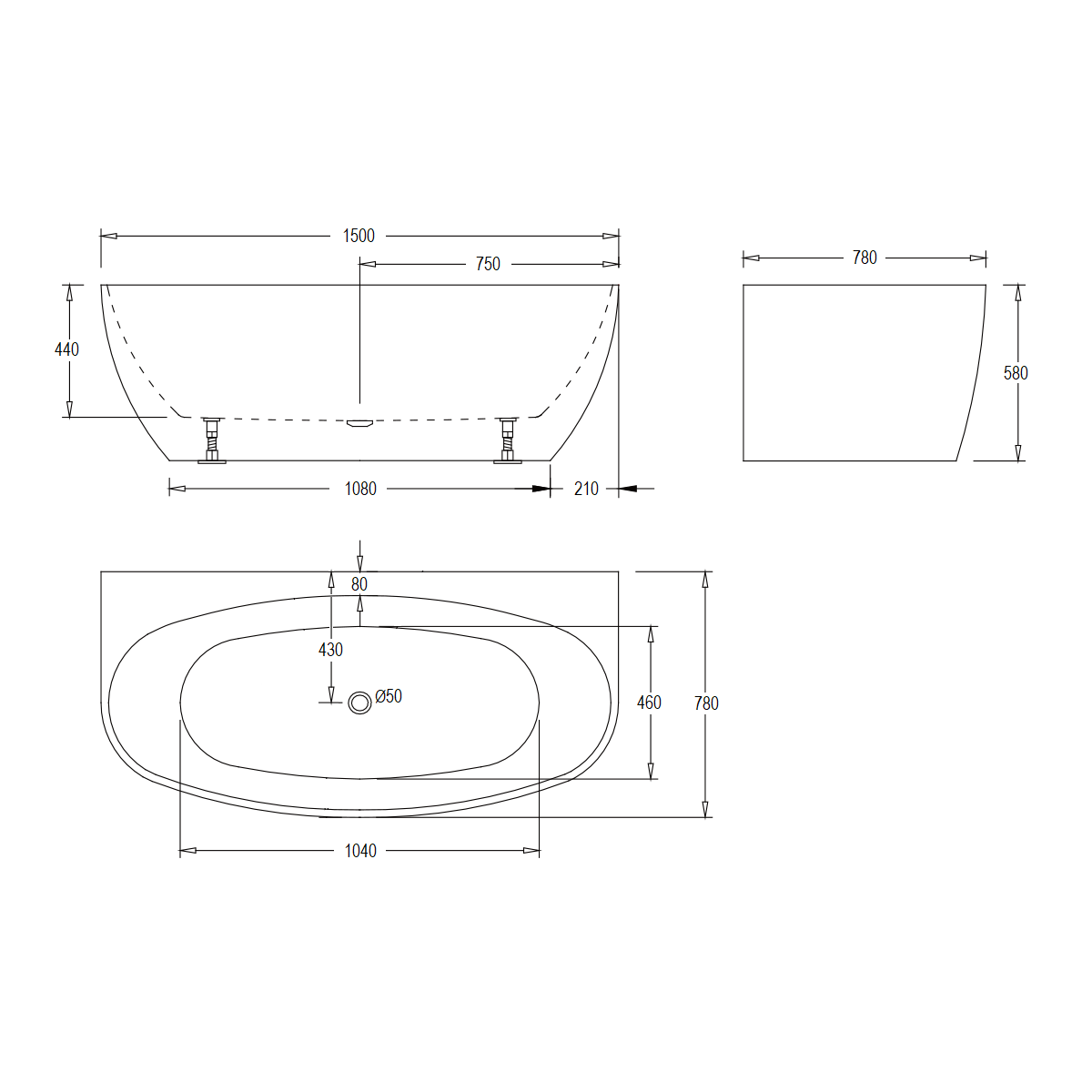 Evelyn 1500mm Freesanding Bath Product Specification