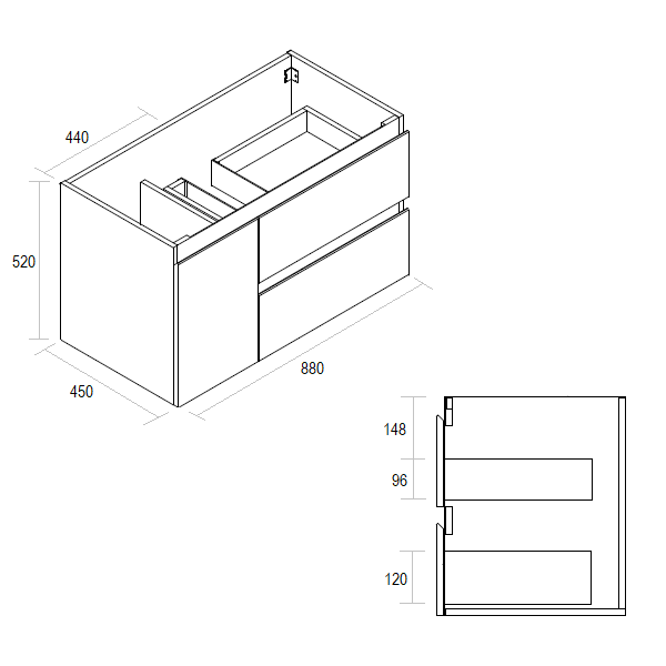 Wall Hung Vanity Matte White Elisa 900mm Product Specification