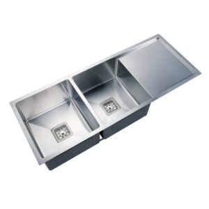 Kitchen Sink Brushed Stainless Steel Double Bowl w Drainer