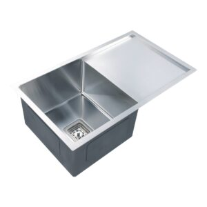 Kitchen Sink Brushed Stainless Steel Single Bowl w Drainer