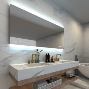 Otto Premium LED Mirror with Bluetooth Speakers & demister 1200x700mm in bathroom setting