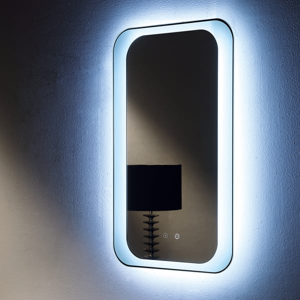 Otis LED Mirror with touch buttons & demister 500x850x30mm close up