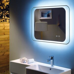Otis Deluxe LED Mirror with digital clock, touch buttons & demister 800x600x30mm close up