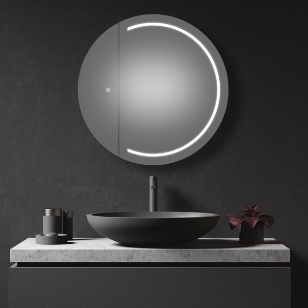 LED mirror cabinet with demister in bathroom setting