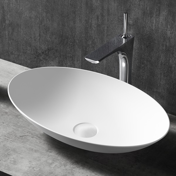 Solid Surface Basin Oval Matte White