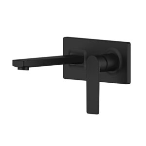 Oberon Matte Black Bathroom Wall Mixer Combination by Schalke OB103BL