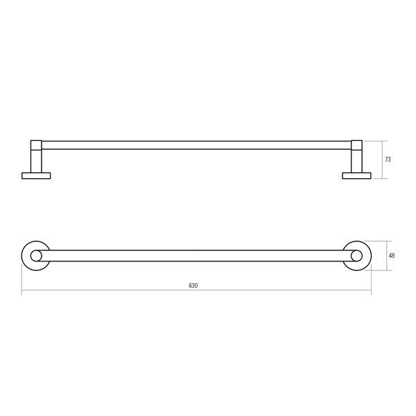 Oberon polished chrome plated brass 600mm single towel rail product specification