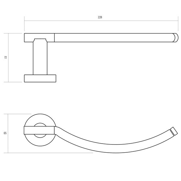 Oberon polished chrome plated brass hand towel rail product specification