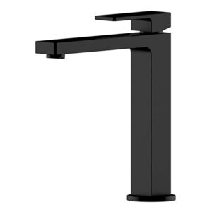 Portia Matte Black Bathroom Tall Basin Mixer by Schalke PO102BL