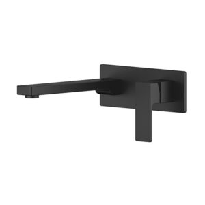 Portia Matte Black Bathroom Wall Mixer Combination by Schalke PO103BL