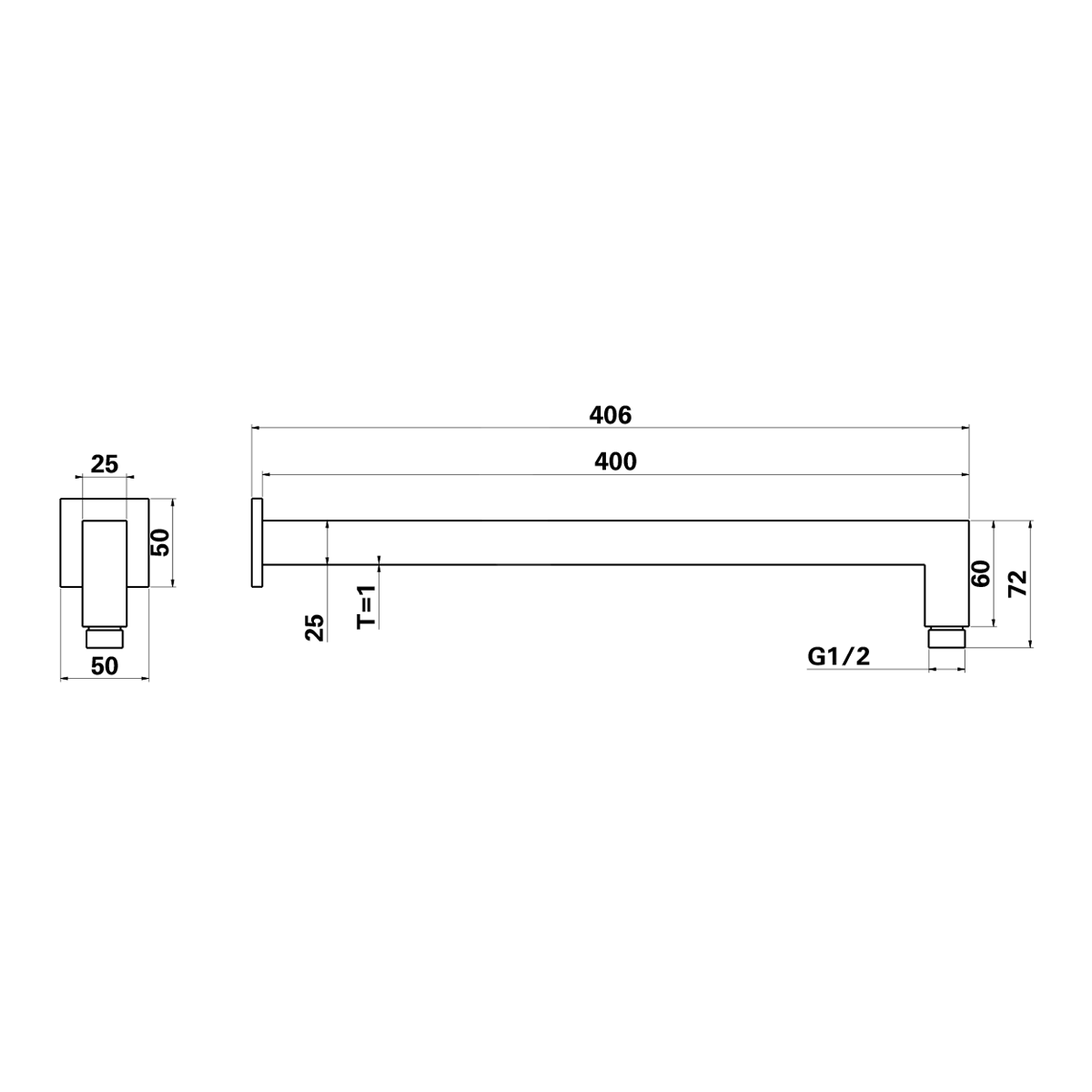 wall arm polished chrome product specification