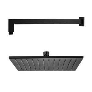 Wall Arm & Shower Head Square MAtte Black