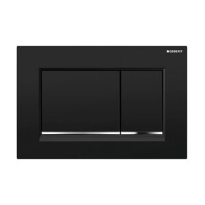 Geberit Sigma30 Square Button Flush Plate Black/Chrome