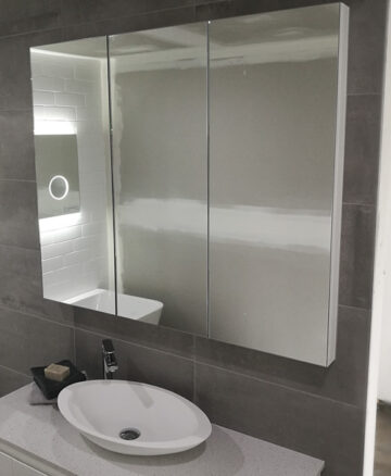 Tall Mirror Cabinet on display