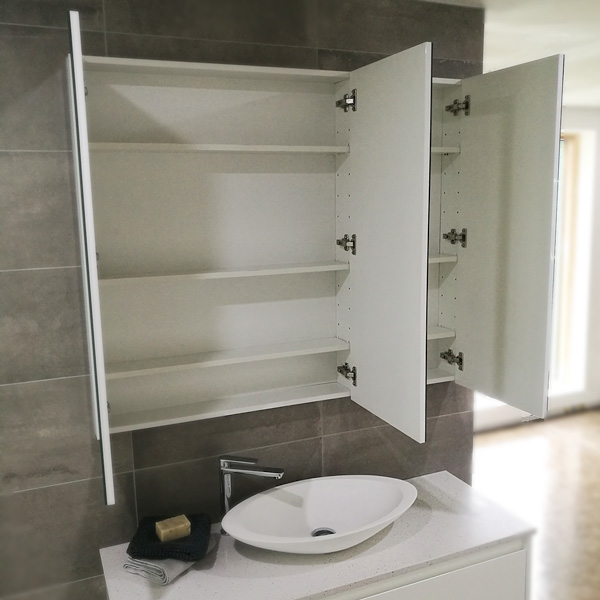 Tall Mirror Cabinet with shelves showing