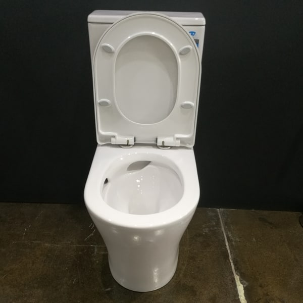 Rimless tornado flush toilet suite - Chara by Blanka with seat up