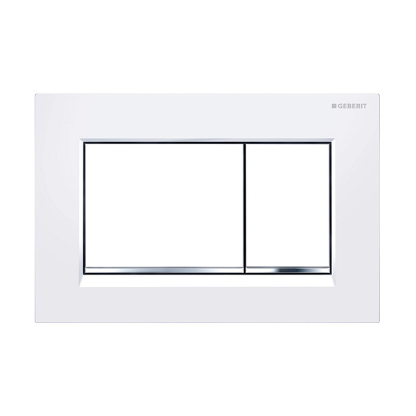 Geberit Sigma30 Square Button Flush Plate White/Chrome