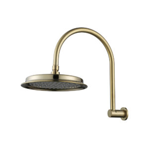 Montpellier Traditional Shower Arm Brushed Brass& Head