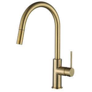 Star Mini Swivel Kitchen Mixer w Pull Out Spray Brushed Brass